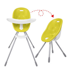 Poppy High Chair by Phil and Teds - Lime Green shown in both configurations