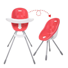 Poppy High Chair by Phil and Teds - Cranberry Red shown in both configurations