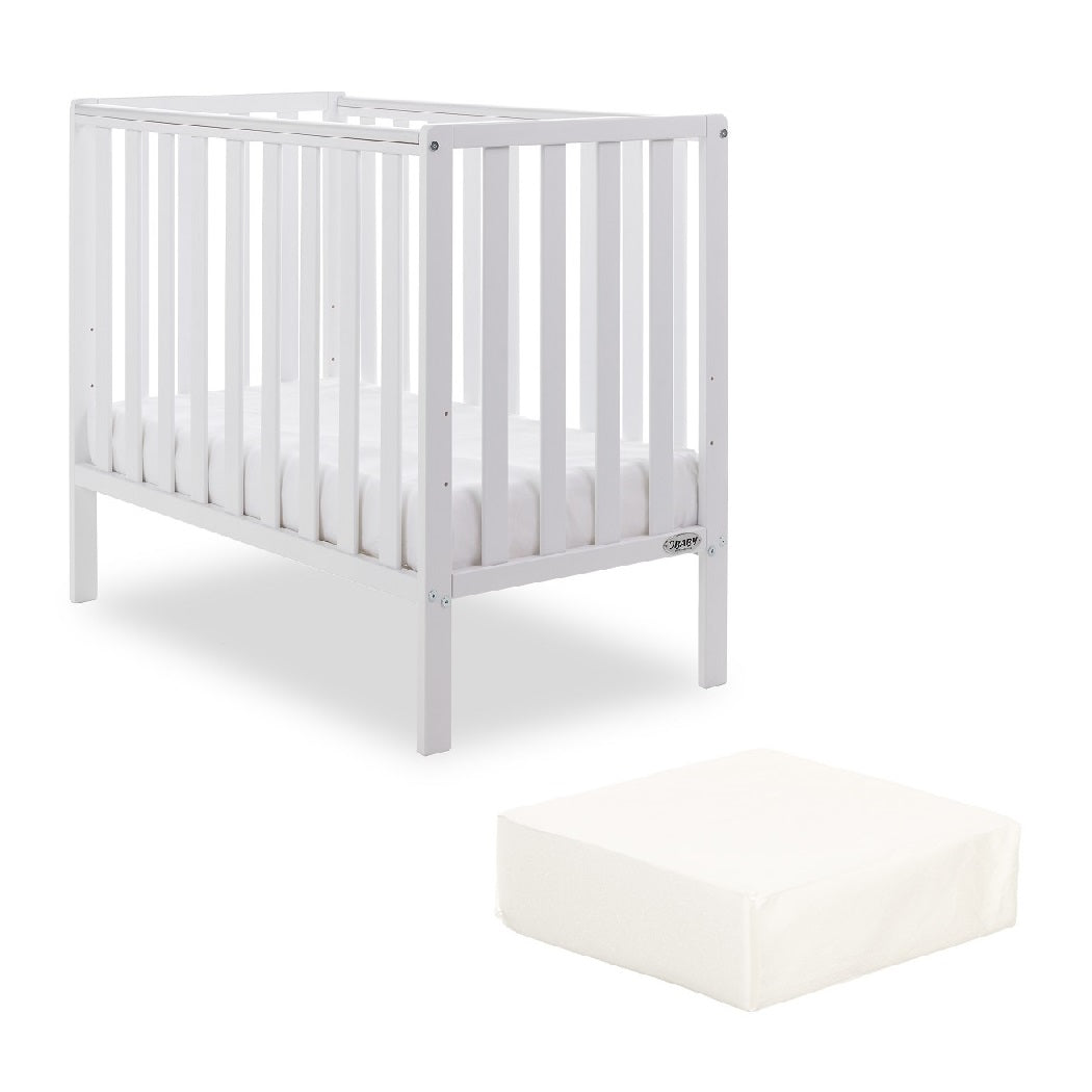 Obaby Bantam Space Saver Cot with FOAM Mattress (White)