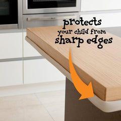 ClevaMama Multi-Purpose Edge Guard (Cream) - lifestyle image, showing the edging fitted onto a kitchen worktop