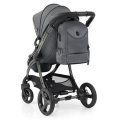 egg2 Luxury Bundle (Jurassic Grey) - showing the rear of the stroller with the included matching backpack