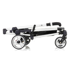 MyChild Floe Convertible Stroller (Silver Star) - side view, showing the chassis folded