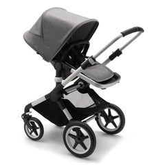 Bugaboo Fox 2 (Grey Melange/Aluminium) - quarter view, showing the stroller in parent-facing mode with the seat reclined