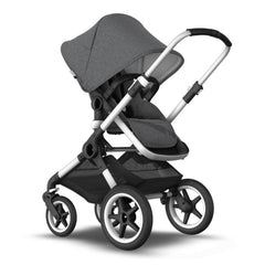 Bugaboo Fox 2 (Grey Melange/Aluminium) - quarter view, showing the parent-facing stroller with the seat upright