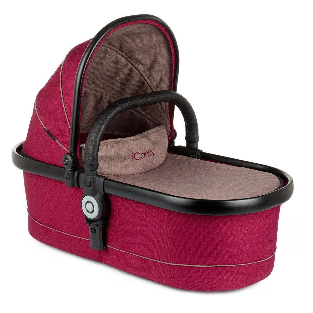 iCandy Peach Main Carrycot (Claret) shown with optional hood and bumper bar