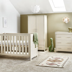 Obaby Nika 3 Piece Room Set (Oatmeal) - lifestyle image (mattress, bedding and accessories not included)