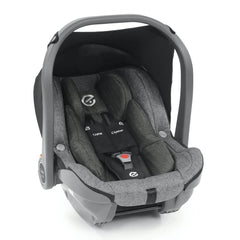 BabyStyle Oyster Capsule Infant Car Seat (Mercury) - quarter view, showing the included car seat