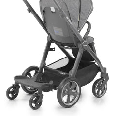 BabyStyle Oyster3 Ride On Board (Black) - showing the board attached to an Oyster 3 pushchair