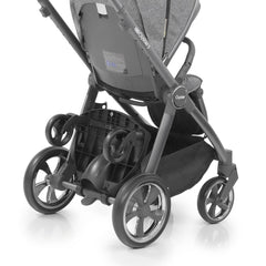 BabyStyle Oyster3 Ride On Board (Black) - showing the board attached to an Oyster 3 pushchair and folded up