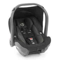 BabyStyle Oyster Capsule Infant Car Seat (Caviar) - quarter view, showing the included car seat