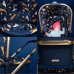 Cosatto Wow Pram & Accessories Bundle - Paloma Faith (On The Prowl) - showing examples of the special edition fabric and Paloma Faith badging