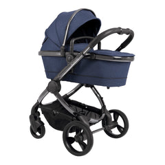 iCandy Peach Phantom Pushchair & Carrycot (Navy Twill) - showing the carrycot and chassis together as the pram