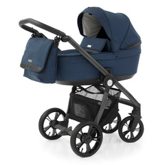 BabyStyle Prestige3 Active Pram & Pushchair Set (French Navy) - showing the carrycot and chassis together as the pram with the changing bag