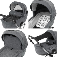 BabyStyle Prestige3 Classic Pram & Pushchair Set (Chrome/Misty Grey) - showing some of the pram`s features: ventilation, backrest, windbreaker and sunshade