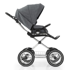 BabyStyle Prestige3 Classic Pram & Pushchair Set (Chrome/Misty Grey) - side view, showing the pushchair in forward-facing mode with the leg rest raised