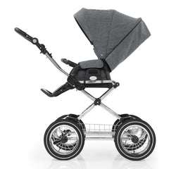 BabyStyle Prestige3 Classic Pram & Pushchair Set (Chrome/Misty Grey) - side view, showing the seat unit and classic chassis together as the pushchair in parent-facing mode