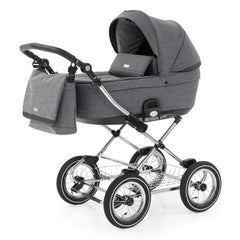 BabyStyle Prestige3 Classic Pram & Pushchair Set (Chrome/Misty Grey) - showing the carrycot and chassis together as the pram