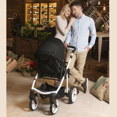Venicci Soft Edition White 2-in-1 Pushchair Set (Black) - lifestyle image, showing the pushchair