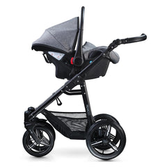 Venicci Soft Edition 3-in-1 Travel System Black Chassis (Denim Grey) - shown with car seat mounted on chassis