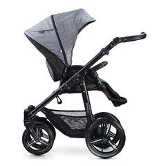 Venicci Soft Edition 3-in-1 Travel System Black Chassis (Denim Grey) - side view, shown as pushchair