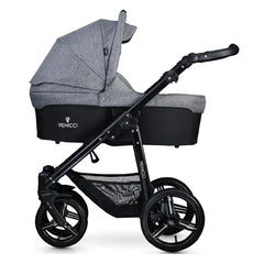 Venicci Soft Edition 3-in-1 Travel System Black Chassis (Denim Grey) - side view, shown as pram