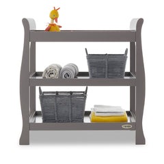 Obaby Stamford Sleigh Open Changing Unit (Taupe Grey) - front view, shown here with toys, bedding and accessories (not included)