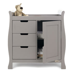 Obaby Stamford Sleigh Changing Unit (Taupe Grey) - front view, showing the internal shelves (toys and bedding not included)