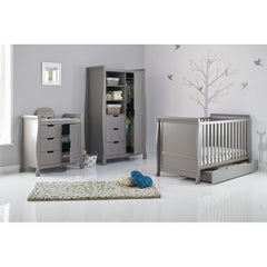 Obaby Stamford Sleigh Double Wardrobe (Taupe Grey) - lifestyle image (changing unit and wardrobe available separately)