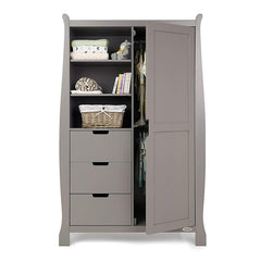 Obaby Stamford Sleigh Double Wardrobe (Taupe Grey) - front view, showing the internal hanging rails (clothes and accessories not included)