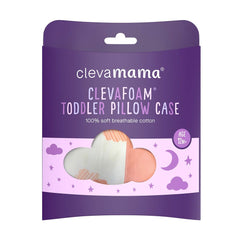 ClevaMama Replacement Toddler Pillow Case Cover (Coral) - shown here in its packaging