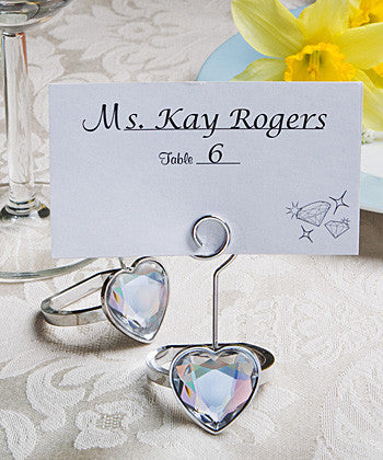 Set of 4 Engagement Ring Place Card Holders -- Wedding Favor
