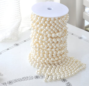 12mm Ivory Pearl Bead Spool -- Roll of Beads Beaded Garland