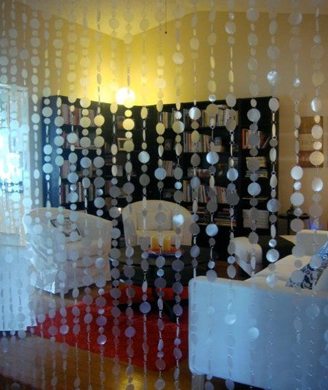 12 Feet Long Faux Capiz Style Frosted Clear PVC Circles Curtain