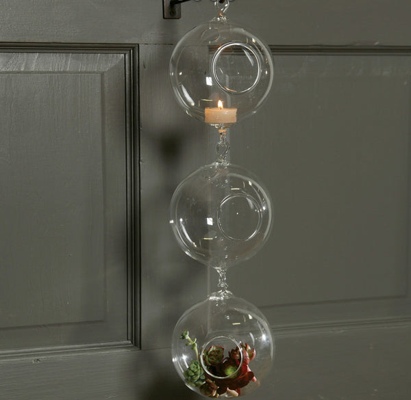 125mm Double Hook Hanging Glass Candle Holder Vase -- Set of 12