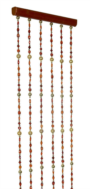 Narrow Brown, Amber & Gold Beaded Curtain -- 12 Inches Wide