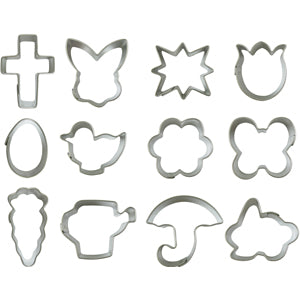 12 Metal Mini Easter Themed Cookie Cutters