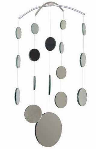 Real Mirror Hanging Mobile, 21 Inches Long, 17 Mirrors