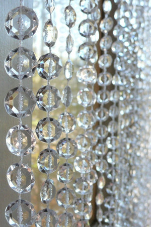 Clear Beaded Curtain -- Small Diamond Cut Shapes -- 24 Feet Long