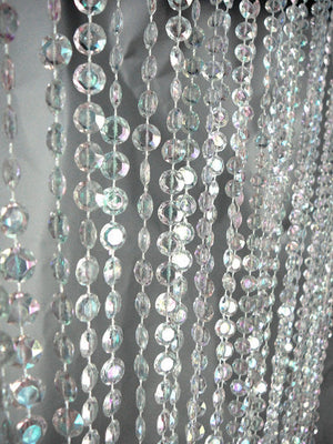 9 Foot Iridescent Clear Beaded Curtain -- Small Diamond Cut Shapes