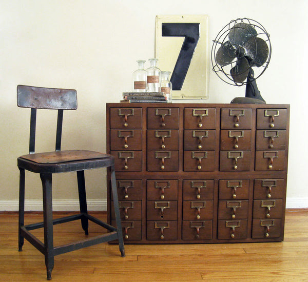 Vintage Library Card Catalog Cabinet, 30 Drawers, 1970's Wood Furniture