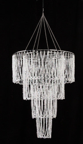 Four Tier Large Iridescent Clear Beaded Chandelier - 2.7 Feet Long