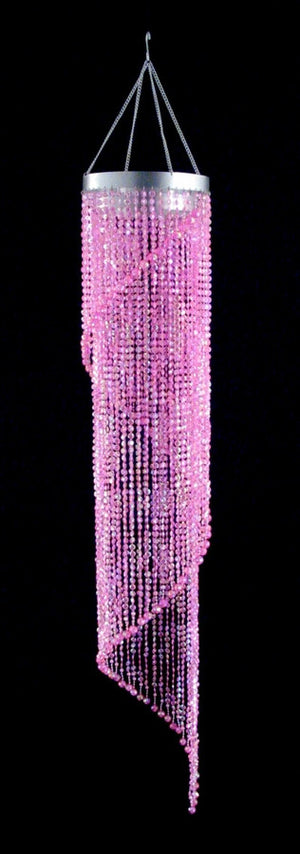 Pink Diamond Cut Spiral Beaded Hanging Chandelier