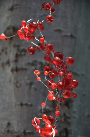 Red Beaded Wire Garland -- 4 Feet Long