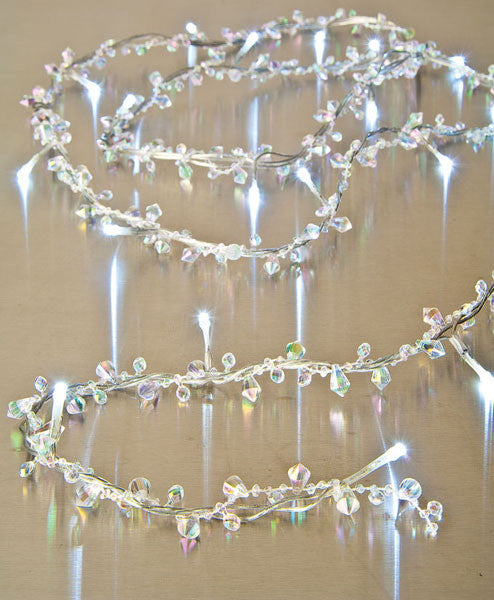 Acrylic Iridescent Crystals & Beads LED Lighted Garland -- 5 Feet Long -- Battery Operated