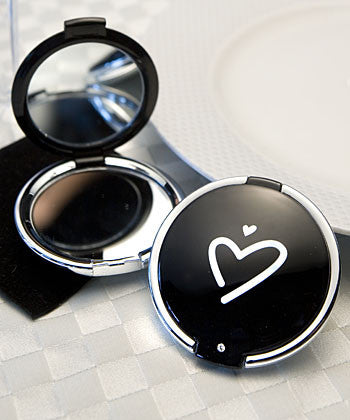 5 Black with White Heart Compact Mirrors -- Wedding Favor