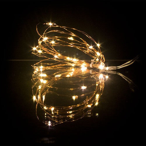 6.5' Bendable Copper Wire Warm White Tiny String Lights -- Battery Operated