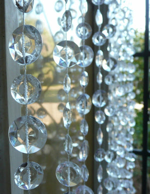 30 Foot Clear Beaded Curtain -- Large Diamond Cut Shapes -- 30 Feet High