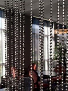 12 Foot Beaded Curtain -- Industrial Faux Metal Gray Ball Chain