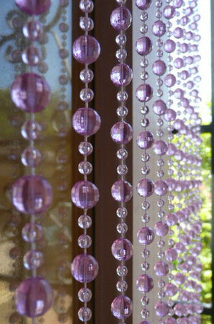 6' Beaded Curtain -- Lavender -- Light Purple Mini Balls