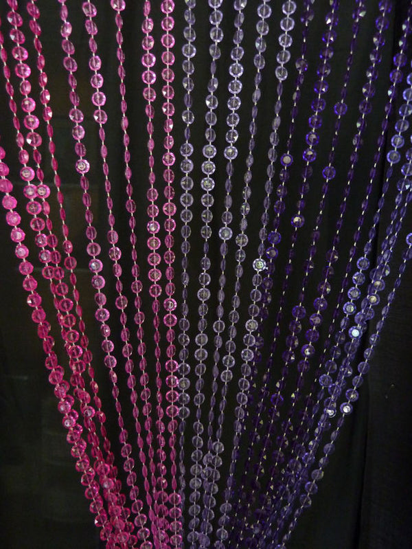 8 Foot Purple + Pink Beaded Curtain -- Diamond Cut